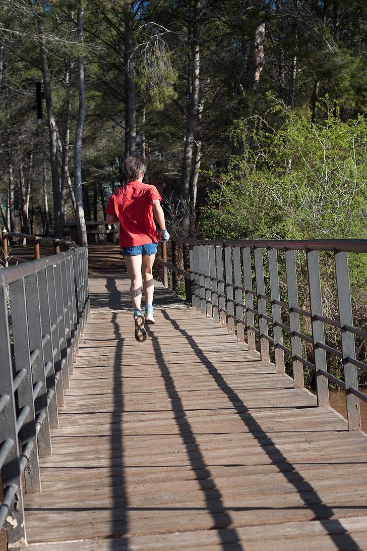 desplaçament, Jogger, formació, executar, esport, esportiu, ajust