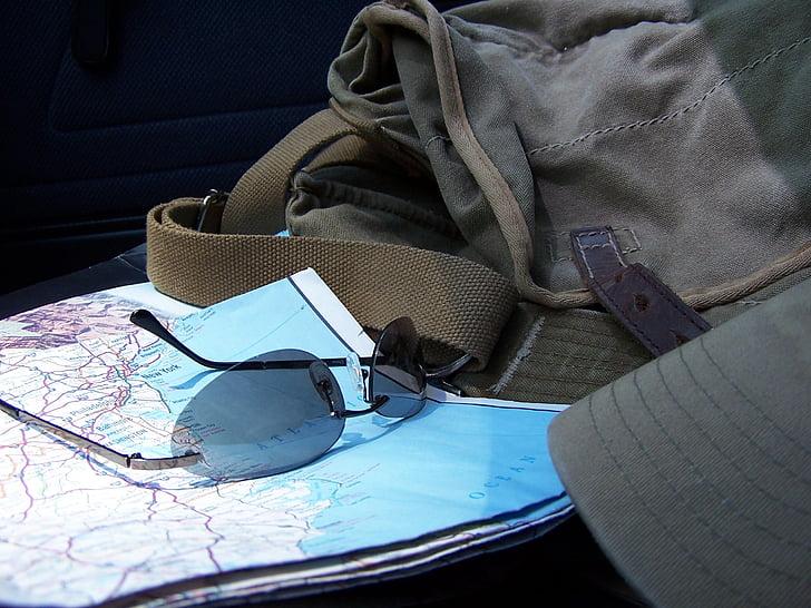 tegevuskava, päikeseprillid, reisija, Reisimine, No inimesed, Õues, päev