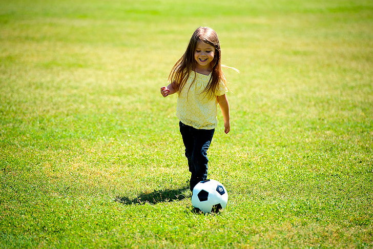 girl, playing, soccer, ball, happy, fun, child