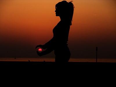 жінка, Захід сонця, Осінь, пляж, Дівчина, Рука, океан