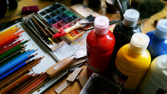 maali, Joonista, pliiatsid, pliiatsid, akvarell, värvi, akrüül