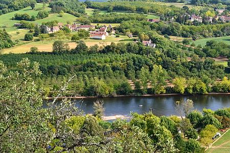 riu, Dordonya, Vista aèria, França, bosc, paisatge, poble