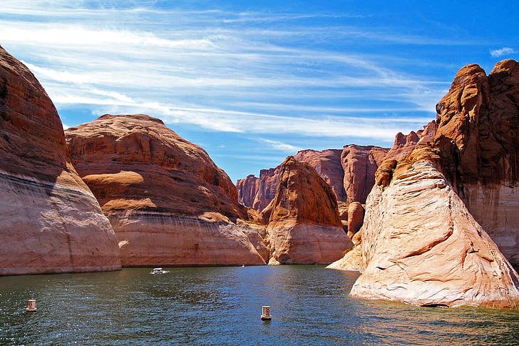 Lake powell, Sidan, Arizona, vatten, reservoar, landskap, Utomhus