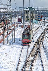 train, winter, road, railway, rails, sleepers, motion