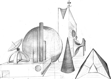 fantaasia, arhitektuur, edasi, Sci fi, abstraktne, palli, kooniline