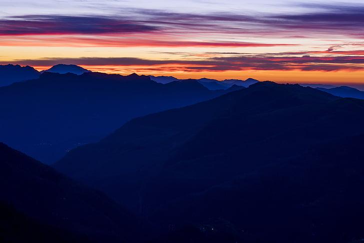 Sunset hory, modrá, Príroda, západ slnka, Príroda, Mountain, západ krajiny