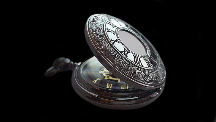 reloj de bolsillo, reloj, tiempo, antiguo, nostalgia, antiguo, puntero de