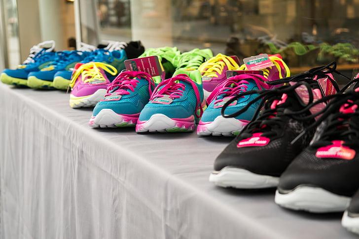 kurpes, krāsains, modes, čības, sporta apavi, palaist, iet