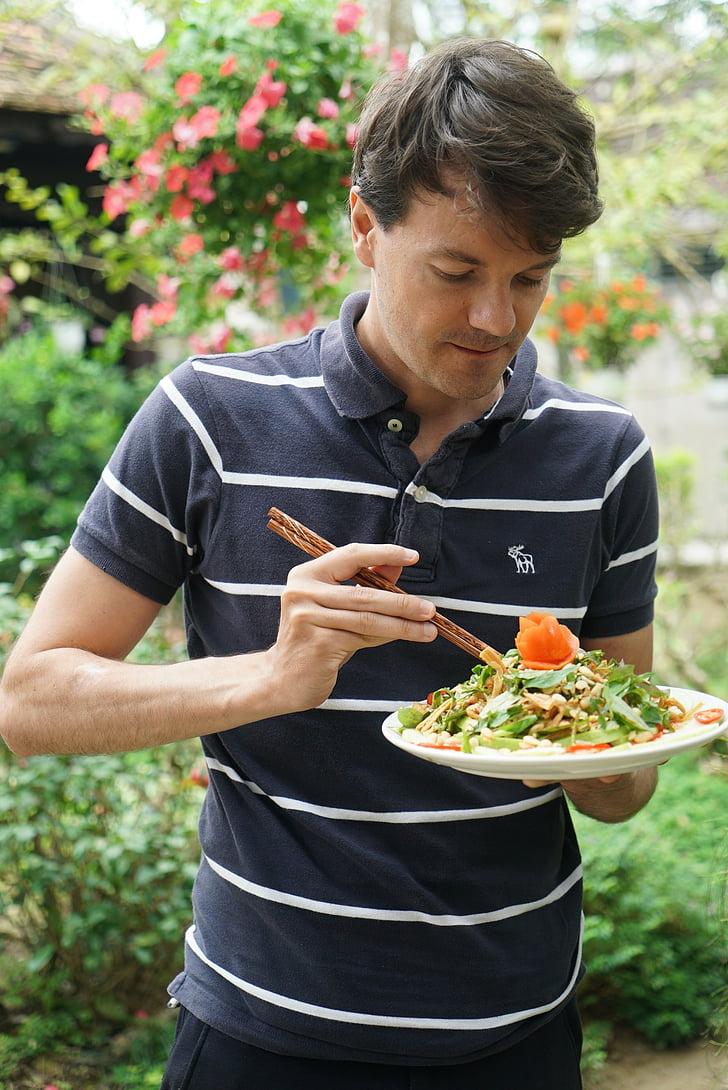 salata, kikiriki, iskaliti, čovjek, prisutni, ukusna, ruku