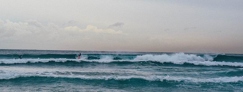 natura, horitzó, horitzó, l'aigua, ones, navegar per, surf