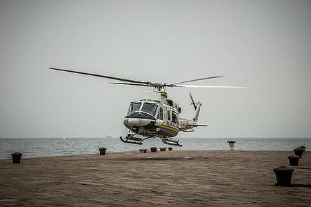 helikopter, Olaszország, Trieszt, ellenőrzés, tenger, Port