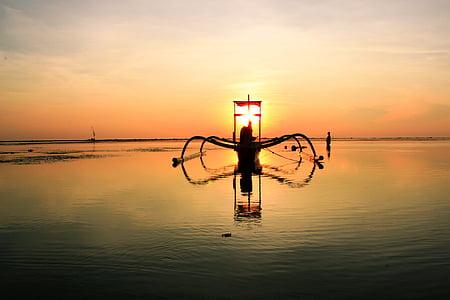 båt, naturen, Ocean, havet, Seascape, Sky, soluppgång