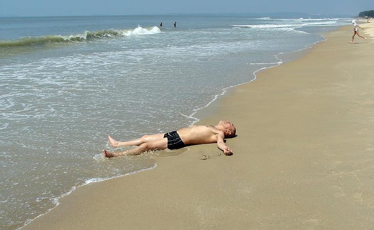 relaxat, home, relaxant, platja, Mar, ones, relaxació