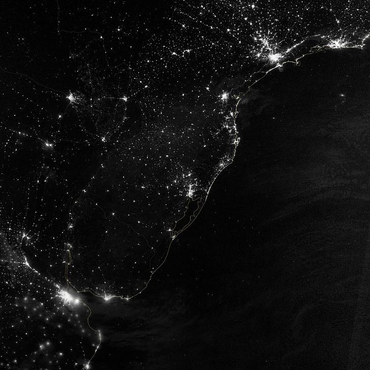 south america, atlantic coast, city lights, space, night, satellite, map