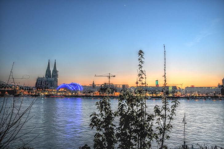 rheinpanoram di cologne, Rhine, Cologne, HDR, abendstimmung, air, Sungai