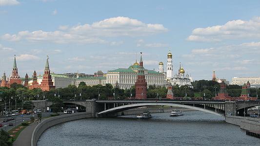 russia, moscow, the kremlin, panorama, view, river, bridge