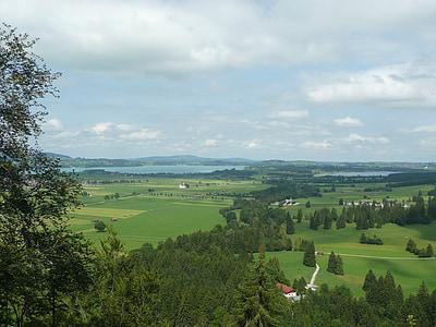 Alpsee, Hattyúk tava, nézet, Allgäu, Füssen