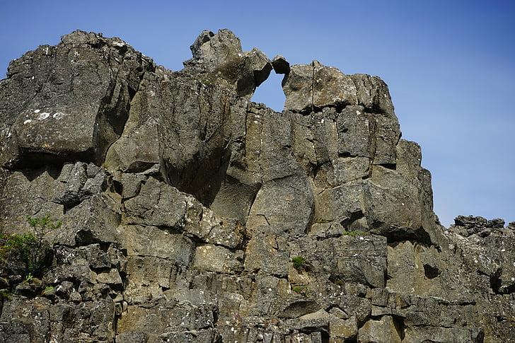 Rock, Mountain, landskap, naturen, Island, pingvellir, Rock - objekt