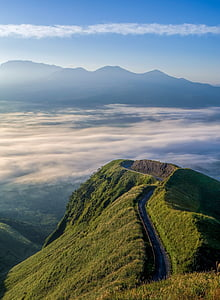 japan, kumamoto, caldera, cloud, sea of clouds, aso, natural