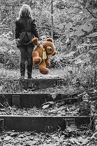 Dziewczyna, dziecko, Miś, zabawki pluszowe, Zabawki miękkie, Teddy, Zwierze wypchane