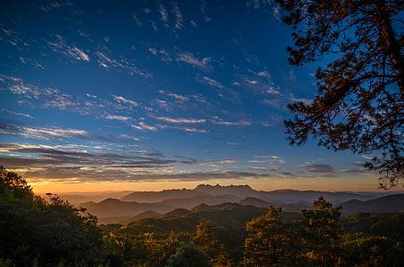 Twilight, skymning, siluett, landskap, molnet, Mountain, Horisont