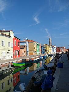 burano, อิตาลี, เวนิส, ช่อง, มีสีสัน, บ้าน, บ้านสีสันสดใส