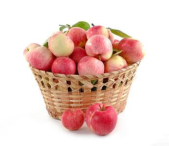 āboli, grozs ir pilns, kopā, augkopības, pārtika, augļi, rudens
