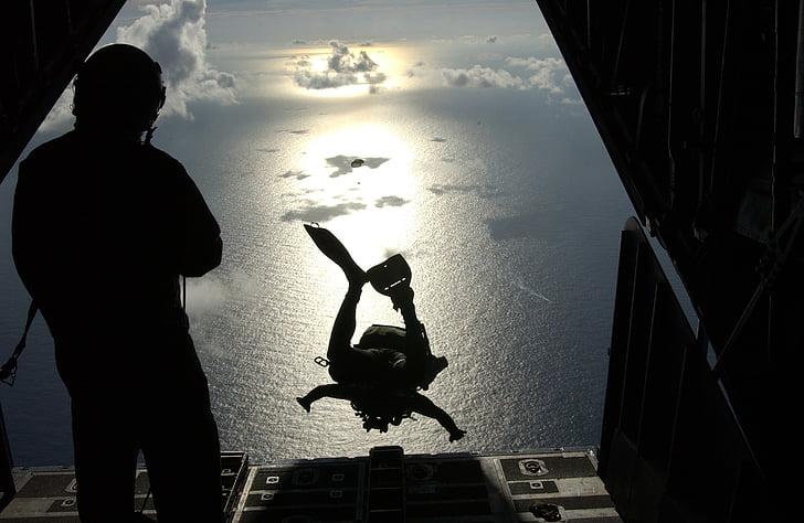pararescueman, medical, support, sea, fisherman, emergency, skydiving