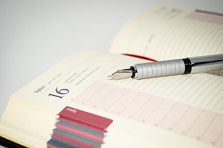 Notebook, Mustekynä, kynä, muistiinpanot, Kirjoittaa, Office, Kalenteri