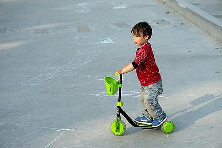 boy, scooter, kick bike, child, fun, young, park
