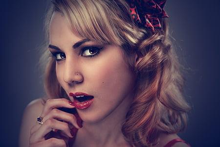 skaistumu, blondīne, acis, seja, meitene, mati, lūpu krāsa