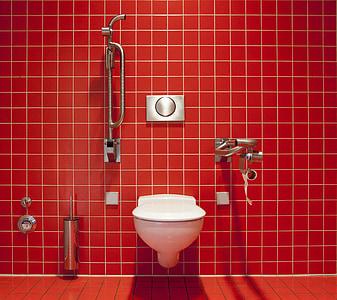 WC, toilette, toilettes publiques, nettoyer, désactivée, maintenu, carreaux
