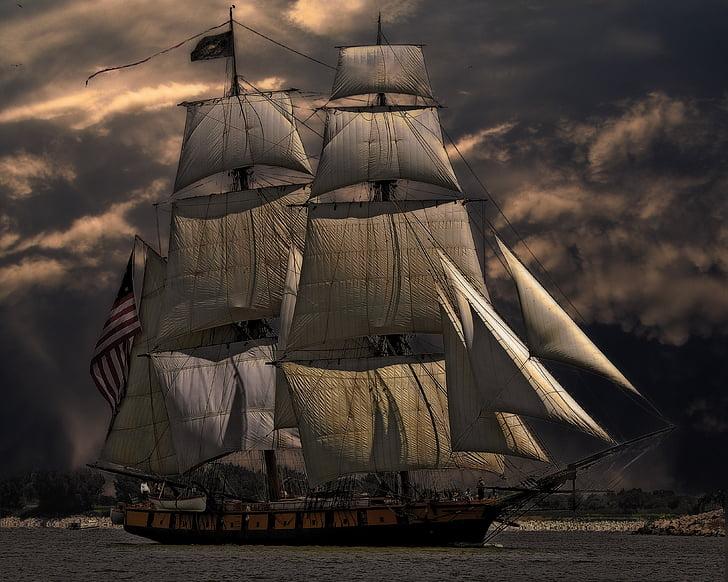fartyg, båt, havet, nautisk, segelbåt, segling, vatten