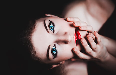 blue eyes, woman, female, makeup, model, red lipstick, sensual