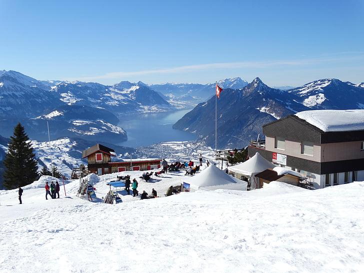 winter, mountain winter, sunny day, winter's day, winter sun, ski lodge, mountain hut