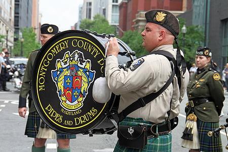 parade, drummer, bass drum, festival, musician, instrument, uniform