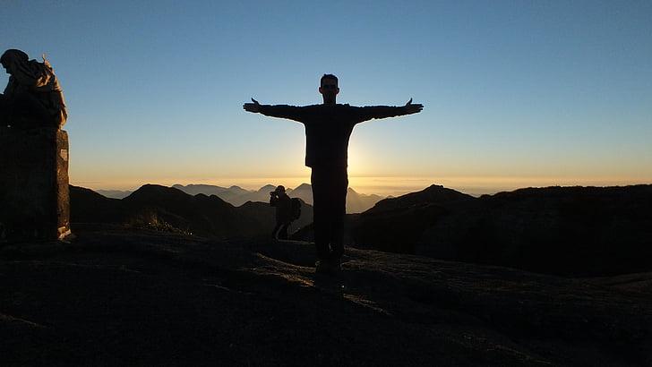 muntanya, Dom, posta de sol, plaer, vacances