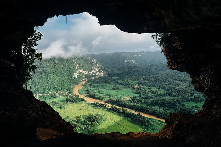 caverna, modo de exibição, Rio, Vale, de, fluxo, água