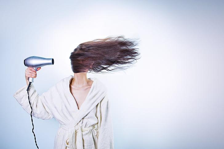Perruqueria, Barnús, bany, assecadora, prepara't, preparant-se, assecador de cabell