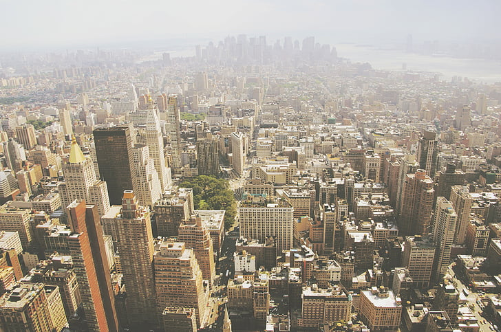 high, angle, view, rise, building, daytime, new york