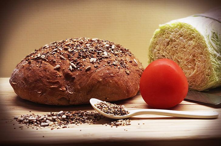 brød, hjem, frø, solsikke, sund, korn, måltid