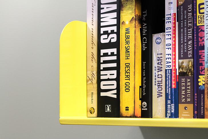 bookshelf, yellow, books, library, literature, education, university