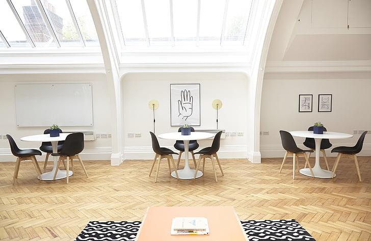 sostre, cadires, mobles, l'interior, disseny d'interiors, sala, taules