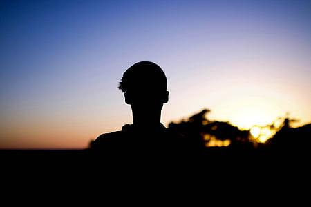sun, sunset, silhouette, people, man, sky