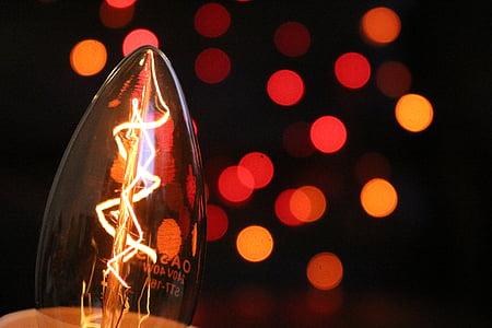 glödlampa, ljus, bokeh, glödlampa, glödlampor, elektricitet, glödlampa idé