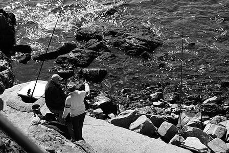 sea, fish, fishing, people, angling, fishing rod, tacks