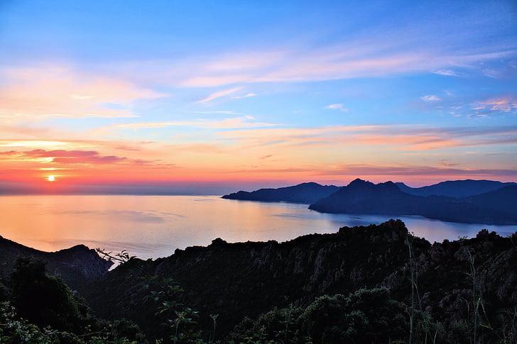태양, 일몰, 바다, abendstimmung, 코르시카