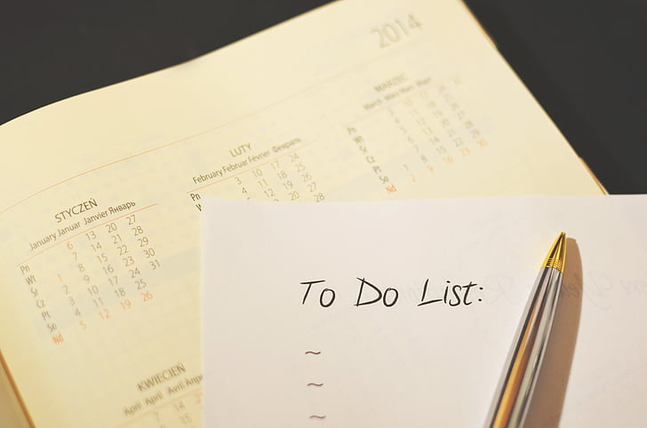 lịch, danh sách kiểm tra, danh sách, tổ chức, tổ chức, bút, để làm