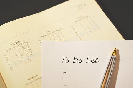 Calendari, Llista de comprovació, llista, Organitzador, organització, ploma, fer