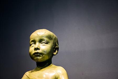 arte, Figura, obra de arte, cuerpo, figura de piedra, escultura, niño